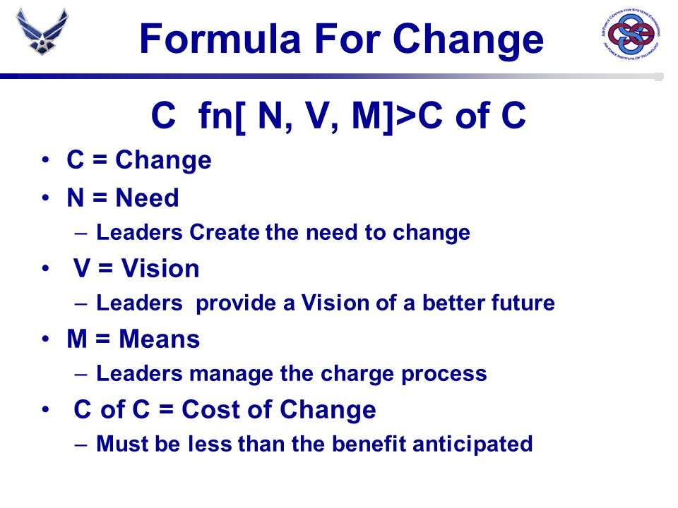 Formula For Change C fn[ N, V, M]>C of C C = Change N = Need